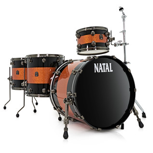 Natal Originals Maple 4pc Shell Pack, Black w/ Orange Sparkle Inlay
