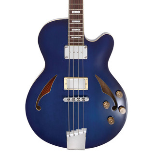 Italia Torino Semi-Hollow Body Bass Guitar, Transparent Blue w/ Bag