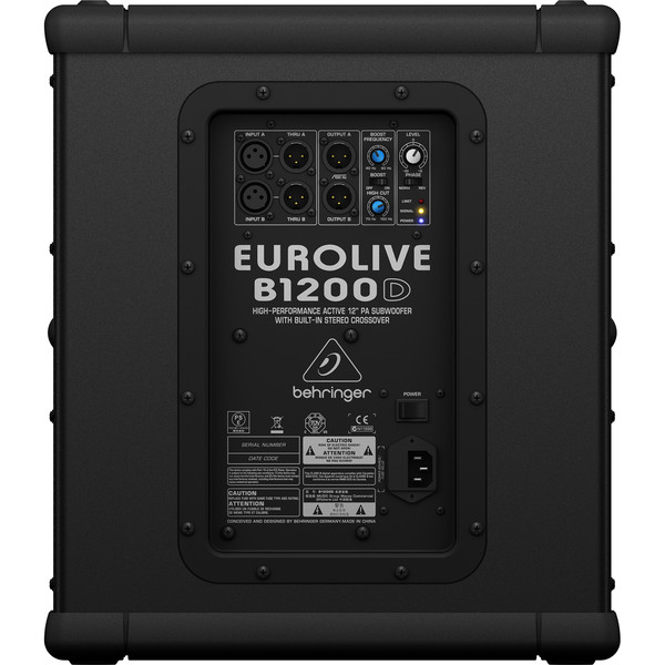 Behringer B1200D Active PA Subwoofer - Rear View
