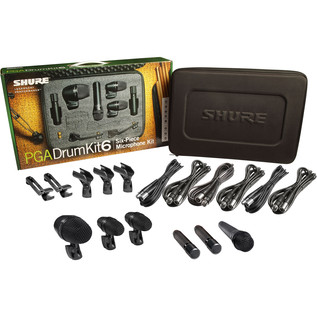 Shure PGADRUMKIT6 Drum Microphone Kit, 6 Piece - Package