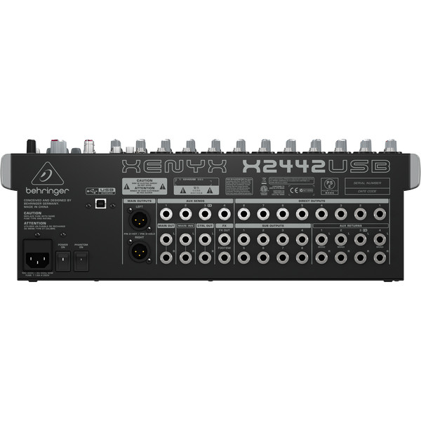 Behringer Xenyx X2442USB Mixer - Rear View
