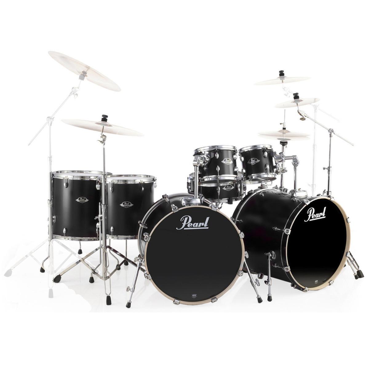 Pearl EXL Export Lacquer 22 7 Piece Drum Kit Matte Satin Black