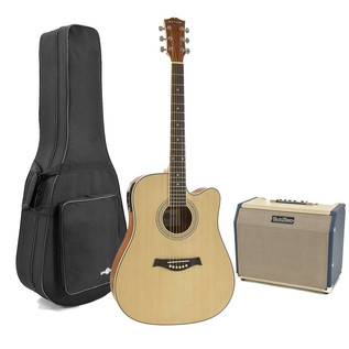 Deluxe Dreadnought Guitar and 25w SubZero Amp Pack, Ovangkol