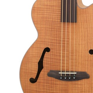 Aria FEB Fretless Electro Acoustic Bass Guitar, Flame Natural