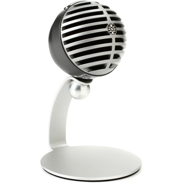 Shure MOTIV MV5 USB Microphone, Silver - Front Angled Right