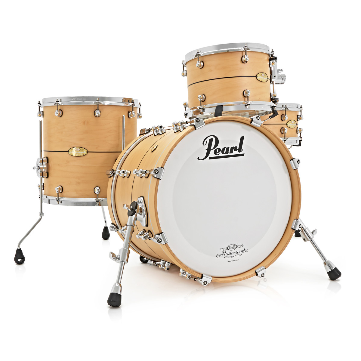 Pearl Masterworks 18 4 Piece Shell Pack Matte Natural w/ Pinstripe