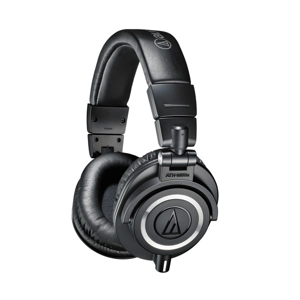 Audio Technica ATH-M50x Headphones, Black, Angled