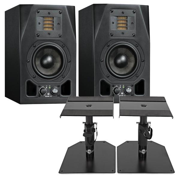 Adam A3X Active Studio Monitors, Includes Desktop Monitor Stands
