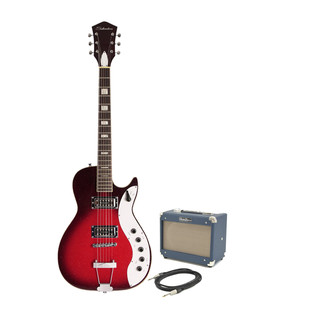 Silvertone 1423 Electric Guitar + SubZero Tube-5 Pack, Red Burst