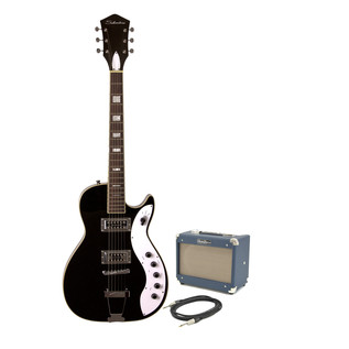 Silvertone 1423 Electric Guitar + SubZero Tube-5 Pack, Blackgold