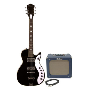 Silvertone 1423 Electric Guitar + SubZero Tube-20R Pack, Blackgold