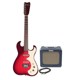 Silvertone 1449 Electric Guitar + SubZero Tube-20R Pack, Red Sparkle