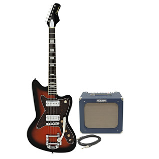 Silvertone 1478 Electric Guitar + SubZero Tube-20R Amp Pack, Red Burst
