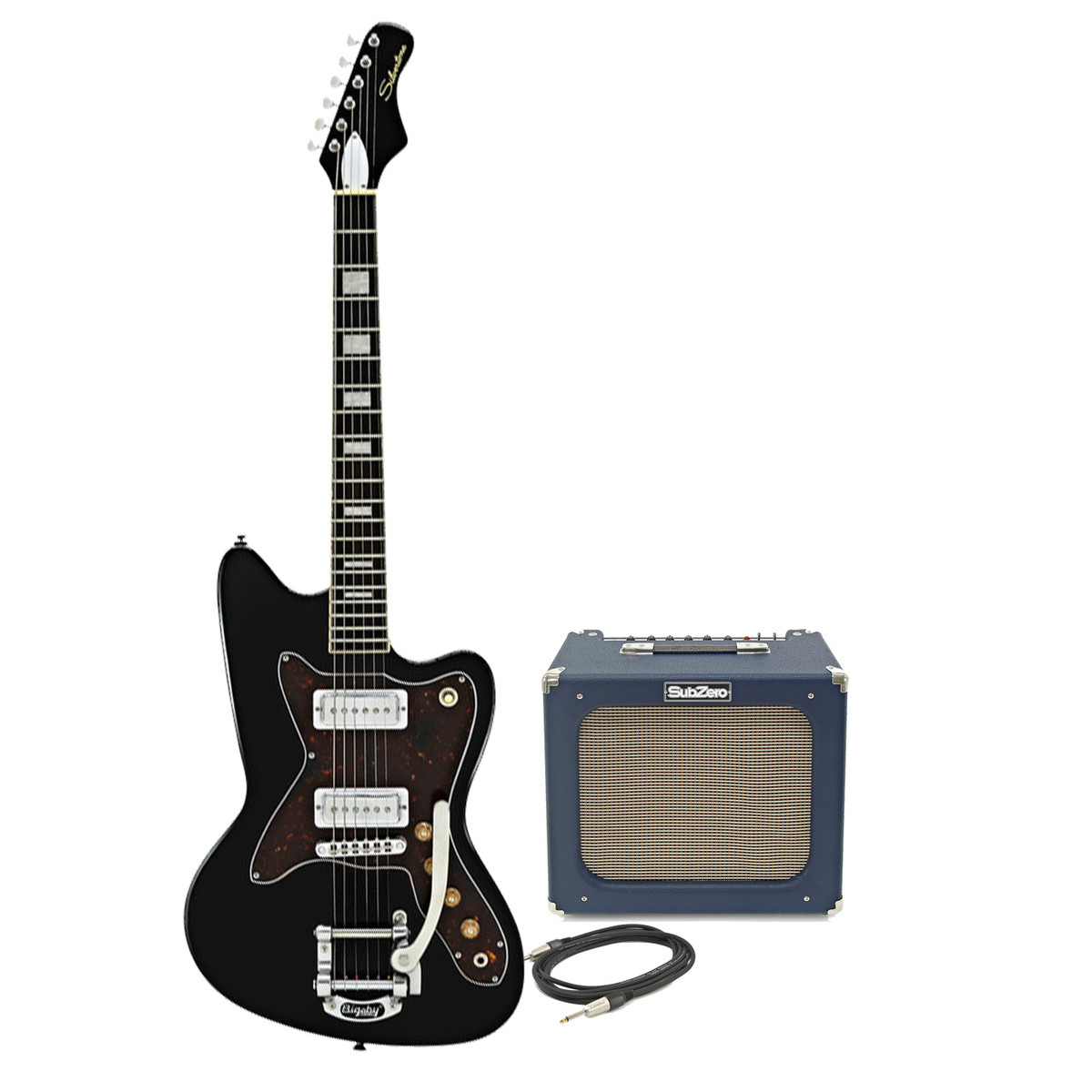 silvertone 1478 electric guitar subzero tube20r amp pack black at gear4music. Black Bedroom Furniture Sets. Home Design Ideas