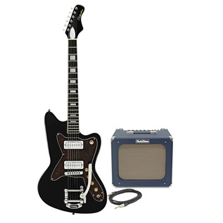 Silvertone 1478 Electric Guitar + SubZero Tube20R Amp Pack, Black