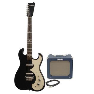Silvertone 1449 Electric Guitar + SubZero Tube-20R Pack, Black Flake
