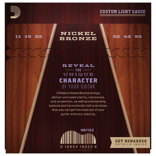 Daddario Nickel Bronze Acoustic Guitar Strings, Custom Light, 11-52