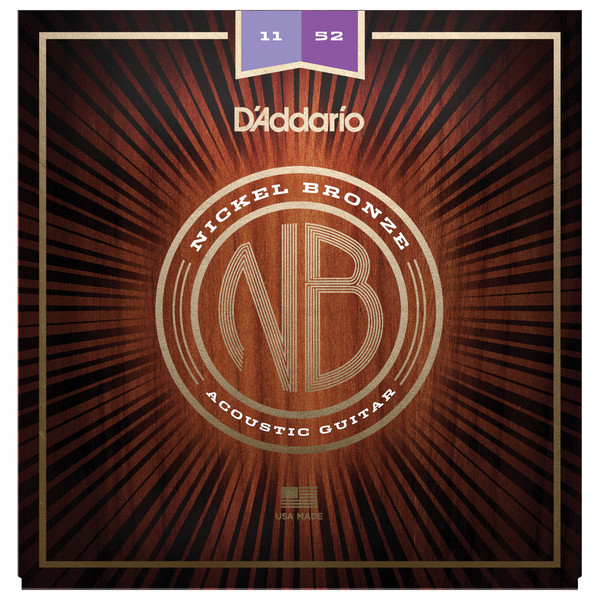 Daddario Nickel Bronze Acoustic Guitar Strings, Custom Light, 11-52
