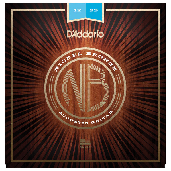 Daddario Nickel Bronze Acoustic Guitar Strings, Light, 12-53