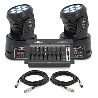 Mini LED Moving Head Twin Pack by Gear4music, Black