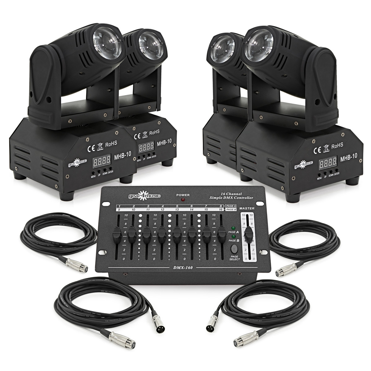 10w LED Beam Moving Head Quad Pack by Gear4music at Gear4music.com