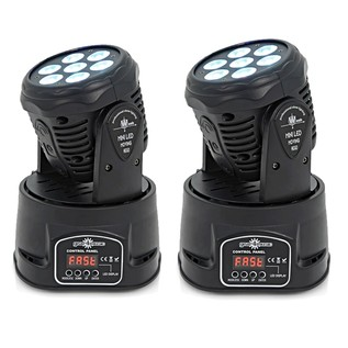 7 x 10w Mini LED Moving Head Light by Gear4music, Black