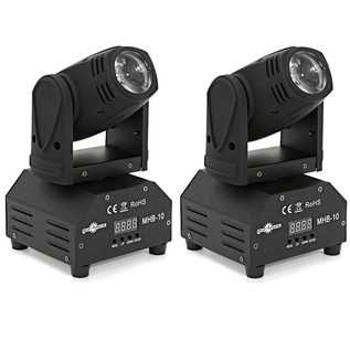 10W Mini Moving Head Beam Light Twin Pack by Gear4music
