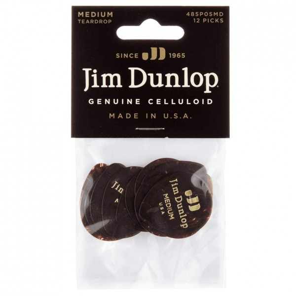 Dunlop Celluloid Teardrop Player Pack Of 12 (Medium), Shell - Front View - Pack