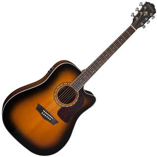 Washburn HD10SCETB Electro Acoustic Dreadnought Guitar, Tobacco Burst