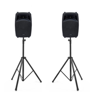 Phonic Jubi 15A 2-Way Active Loudspeakers and Stands