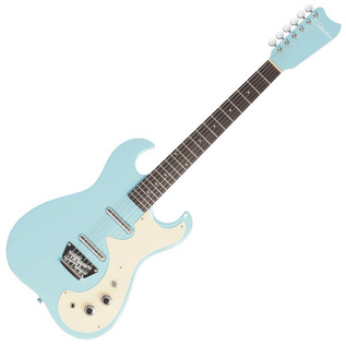 Silvertone 1449 Electric Guitar + SubZero Tube-20R Pack, Daphne Blue