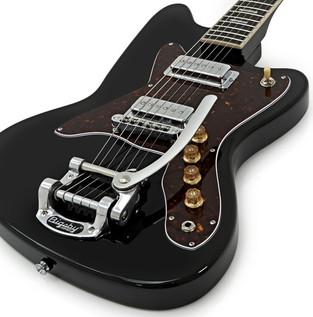 Silvertone 1478 Electric Guitar + SubZero Tube20R Amp Pack, Black