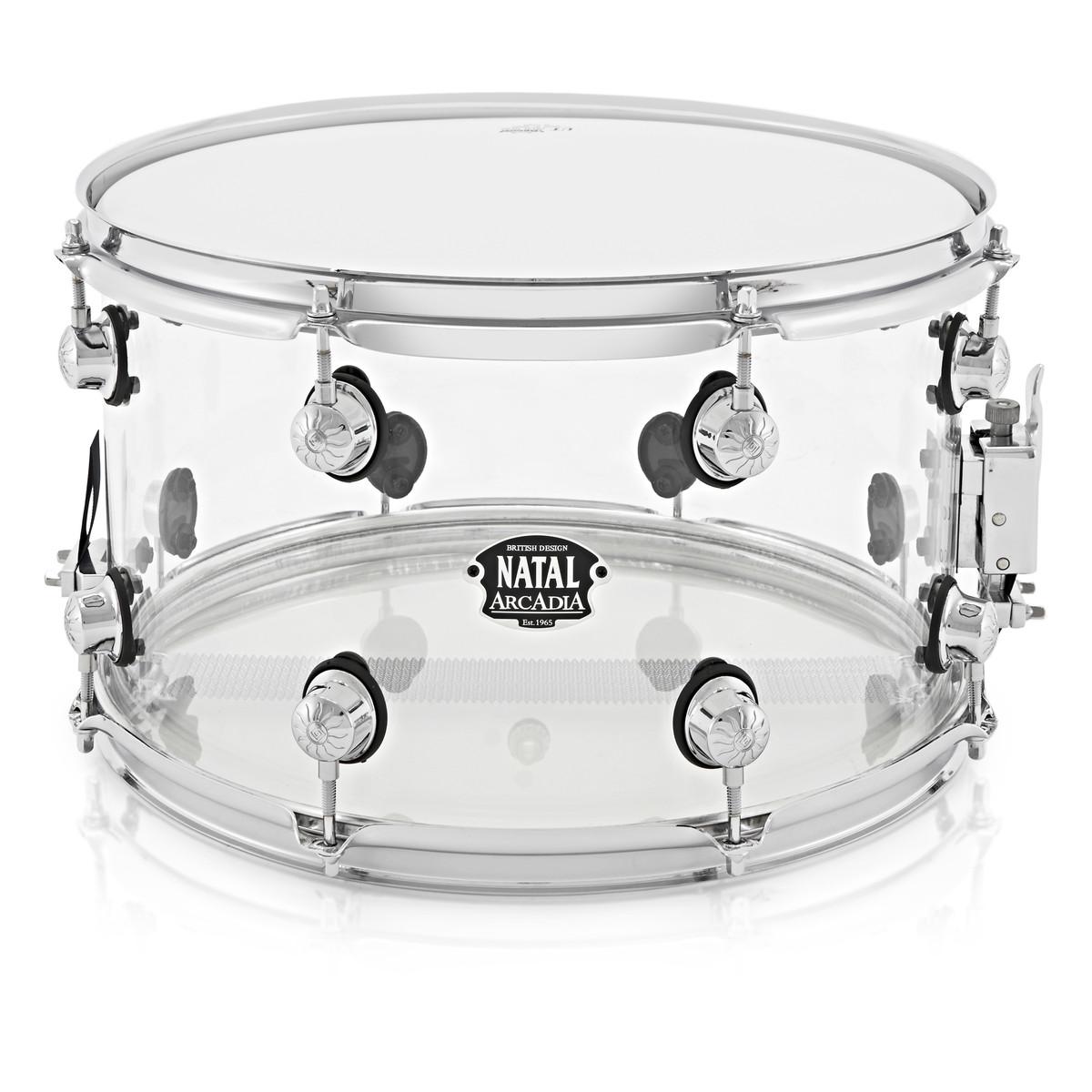 Natal Arcadia 14 x 8 Acrylic Snare, Transparent at Gear4music.com