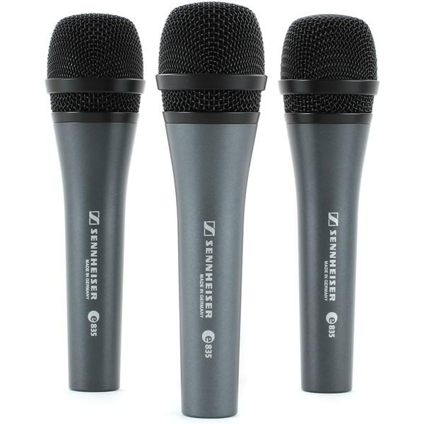 Sennheiser e835 Cardioid Vocal Mic, 3 Pack - Front