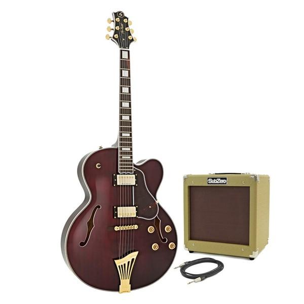 Greg Bennett Lasalle JZ-2 Guitar + SubZero V35RG Amp Pack, Red