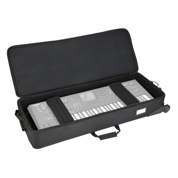 SKB 61-Key Keyboard Soft Case with Wheels - Open (Keyboard Not Included)