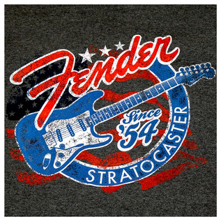 Fender Patriotic Stars 'n' Stripes Stratocaster T-Shirt, Grey, Small