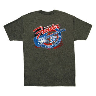 Fender Patriotic Stars 'n' Stripes Stratocaster T-Shirt, Grey, XXL