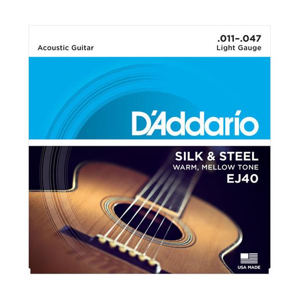 D'Addario EJ40 Silk & Steel Acoustic Guitar Strings, 11-47