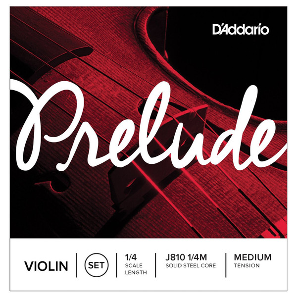 D'Addario Prelude Violin String Set, 1/4 Scale, Medium Tension