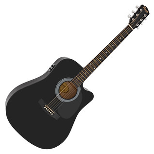 Squier By Fender SA-105CE Dreadnought Cutaway, Black