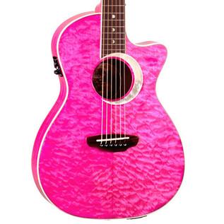 Luna Fauna Eclipse Parlor Electro Acoustic Guitar, Trans Pink