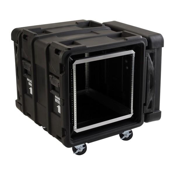 SKB 24'' Deep 10U Roto Shockmount Rack Case - Angled Open