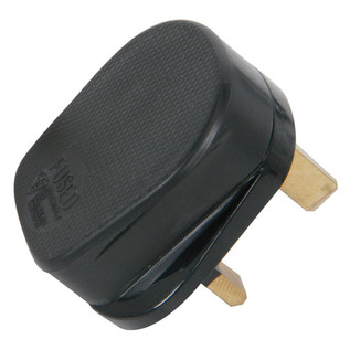 AVSL Rubber UK Mains Plug Black 13Amp Fuse, Uniterminated