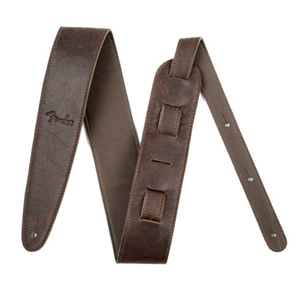 """Fender Artisan Crafted Leather Guitar Strap, 2.5"""" Brown"""