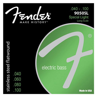 Fender 9050SL Stainless Steel Flatwound Bass Guitar Strings, 40-100