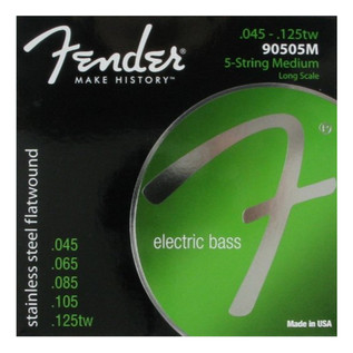 Fender 90505M Stainless Steel Flatwound Bass Guitar Strings, 45-125tw