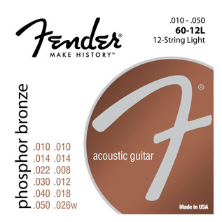 Fender 60-12L Phosphor Bronze 12 String Light Acoustic Strings, 10-50