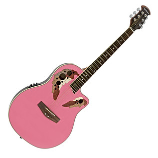 Deluxe Roundback Electro Acoustic Guitar by Gear4music, Pink