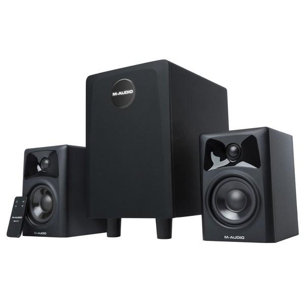 M-Audio AV32.1 2.1-Channel Powered Speaker System - Angled